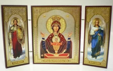 """Складень тройной на дереве - икона Пресвятой Богородицы """"Неупиваемая Чаша"""""""