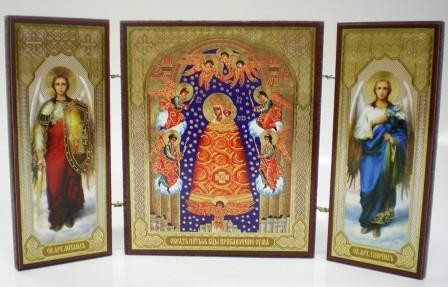 """Складень тройной на дереве - икона Пресвятой Богородицы """"Прибавление ума"""""""