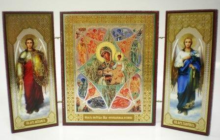 """Складень тройной на дереве - икона Пресвятой Богородицы """"Неопалимая Купина"""""""