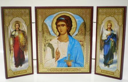 """Складень тройной на дереве - икона """"Ангел-хранитель"""""""