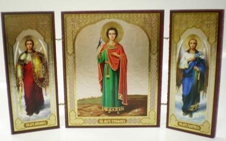 """Складень тройной на дереве - икона """"Св. мученик Трифон"""""""