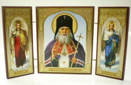"""Складень тройной на дереве - икона """"Св. исповедник архиепископ Лука"""""""