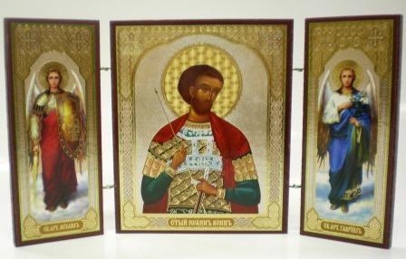 """Складень тройной на дереве - икона """"Св. Иоанн Воин"""""""