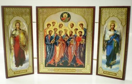 """Складень тройной на дереве - икона """"Собор двенадцати апостолов"""""""