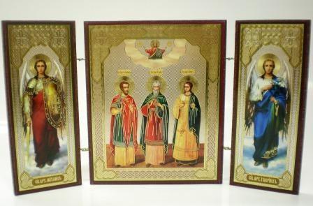 """Складень тройной на дереве - икона """"Свв. мученики Гурий, Самон и Авив"""""""
