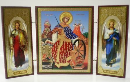 """Складень тройной на дереве - икона """"Святая великомученица Екатерина"""""""