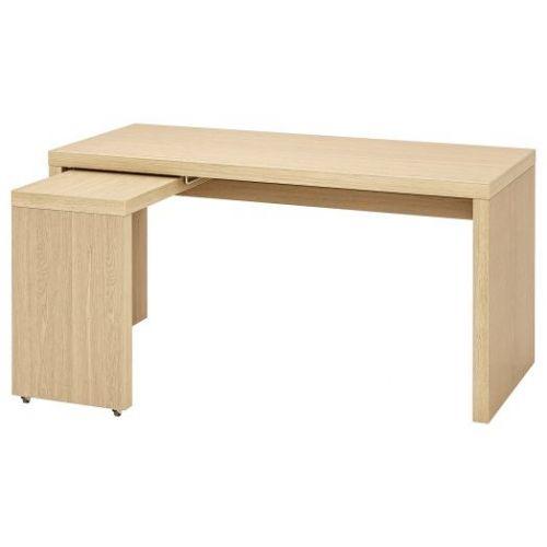 MALM МАЛЬМ, Письменный стол с выдвижной панелью, дубовый шпон, беленый, 151x65 см - 303.599.74
