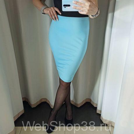 Голубая юбка карандаш с черными вставками