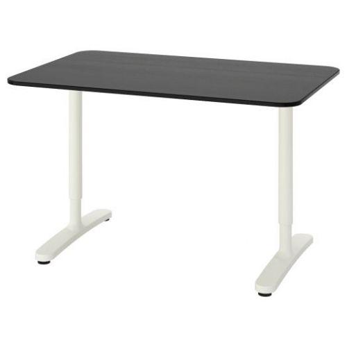 BEKANT БЕКАНТ, Письменный стол, ясеневый шпон/черная морилка/белый, 120x80 см - 492.825.88