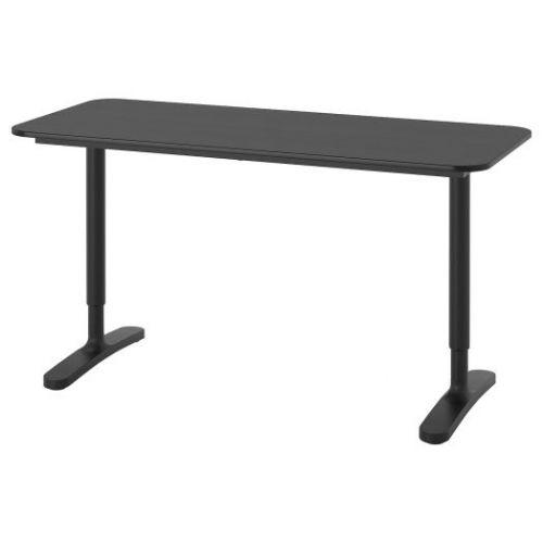 BEKANT БЕКАНТ, Письменный стол, ясеневый шпон/черная морилка/черный, 140x60 см - 292.826.31