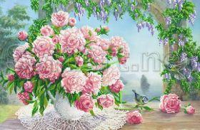 Svit Art SI-551 Розовые пионы в вазе схема для вышивки бисером купить оптом в магазине Золотая Игла
