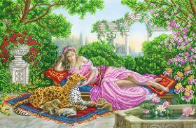 Svit Art SI-626 Девушка с леопардом в саду схема для вышивки бисером купить оптом в магазине Золотая Игла