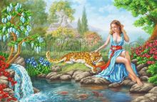 SI-700 Svit Art. Девушка и леопард на камнях у воды. А2