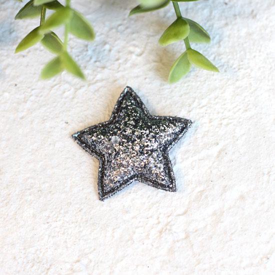 Кукольный аксессуар - Патч черная звездочка с блестками 3,8 см.