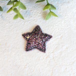 Кукольный аксессуар - Патч розово-черная звездочка с блестками 3,8 см.