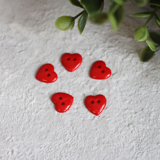 Пуговицы декоративные 'Красное сердце', 13 мм (набор 5 шт.)