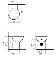 Угловой унитаз Hatria You & Me YXZ601 приставной 50,5х37,5 схема 1