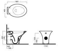 Приставной унитаз Hatria Sculture YXZ301 60х40 схема 1