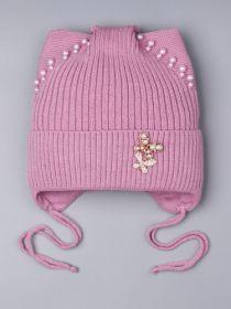 РБ 25331 Шапка вязаная для девочки с кошачьими ушками, на завязках, бусинки, брошь, лавандово-розовый