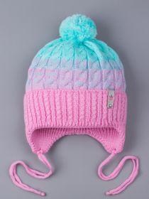 РБ 25170 Шапка вязаная для девочки с бубоном на завязках, двухцветная, нашивка корона, розовый