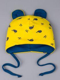РБ 23801 Шапка трикотажная для мальчика на завязках с ушками, рыбки, желтый