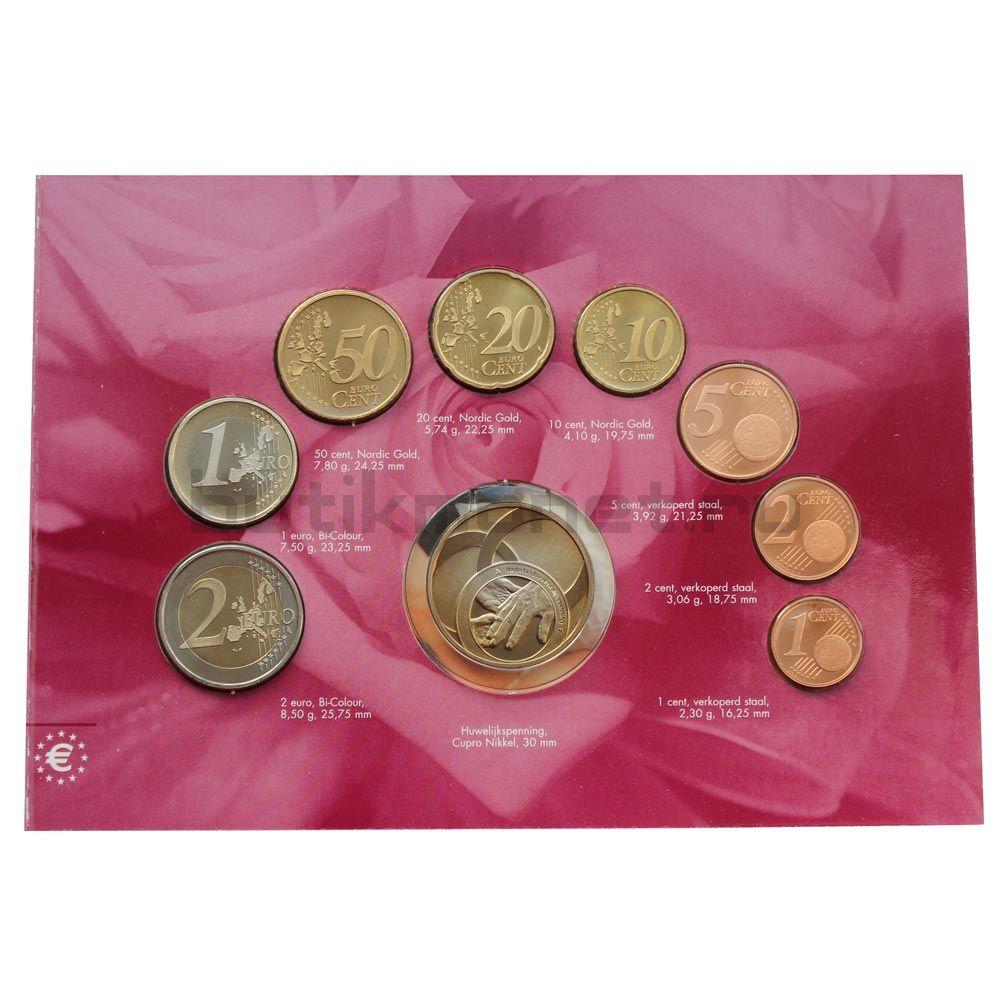 Годовой набор монет ЕВРО 2003 Нидерланды Свадьба (8 штук и жетон)