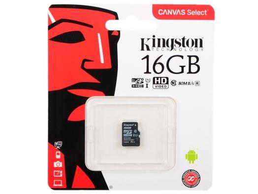 Карта памяти microSD 16 Gb Kingston 10 class UHS-I Canvas Select up to 80MB/s (без адаптера SD)