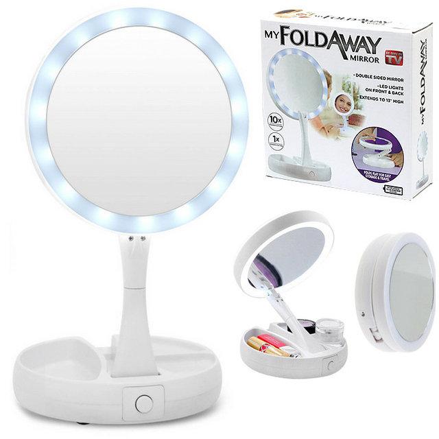 Зеркало со светодиодами складное с увеличением до 10 раз My FoldAway Mirror