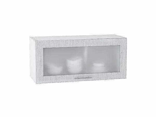 Шкаф верхний Валерия ВГ810 со стеклом (серый металлик дождь)