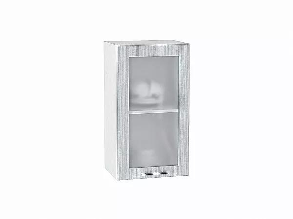 Шкаф верхний Валерия В400 со стеклом (серый металлик дождь)