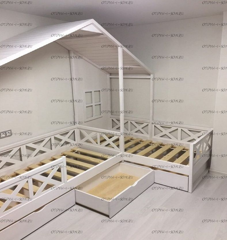 Кровать Домик Угловой Fairy Land №28 (Для Двоих Детей)
