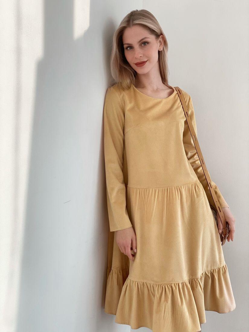 s3877 Платье вельветовое с воланом в цвете sand