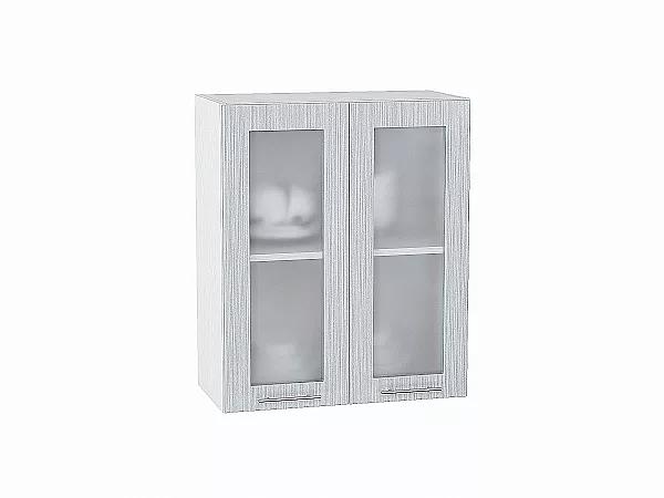 Шкаф верхний Валерия В600 со стеклом (серый металлик дождь)