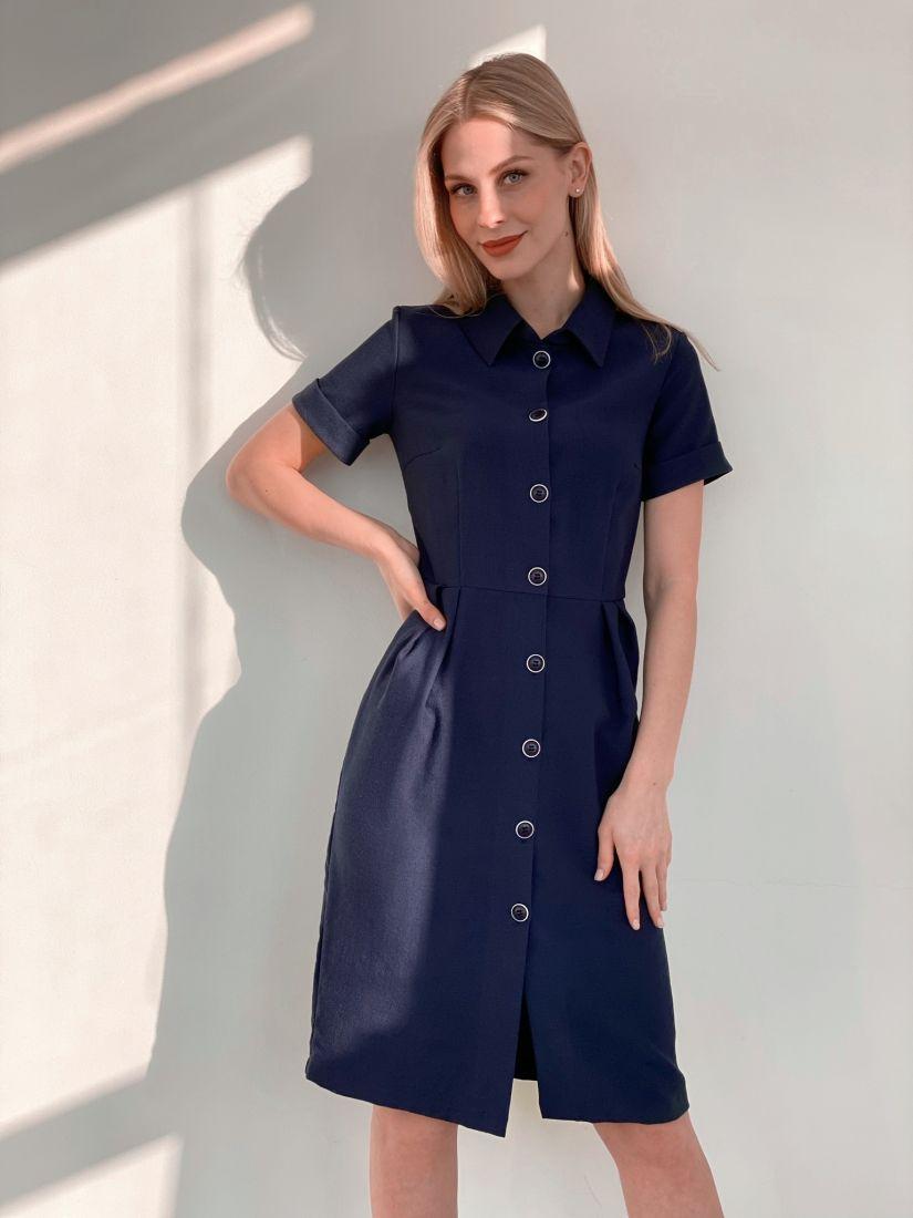s3882 Платье-рубашка с юбкой-тюльпан тёмно-синее