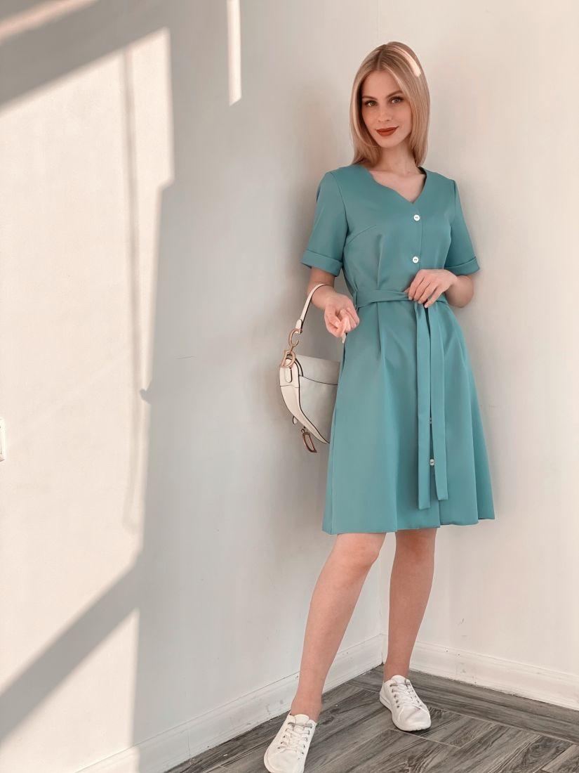 s3886 Платье на пуговичках голубое
