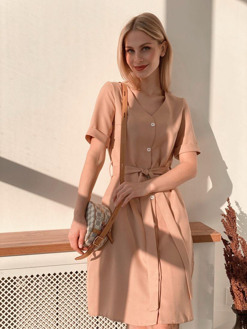 s3887 Платье на пуговичках бежевое