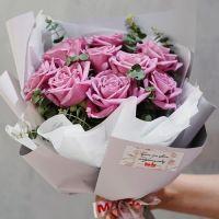 АКЦИЯ! Букет из нежно-фиолетовых роз от11 шт  50см