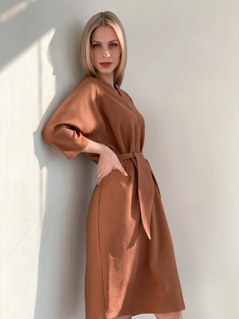 s3892 Платье-реглан в цвете camel
