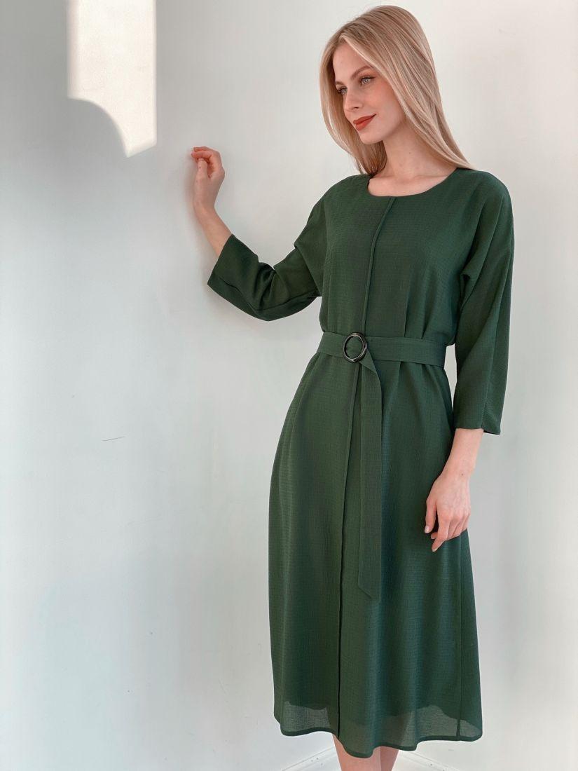 """s3900 Платье из жатого шифона в цвете """"изумруд"""" на подкладе"""