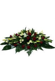 Фото Ритуальная композиция из живых цветов на могилу/гроб Элит №7