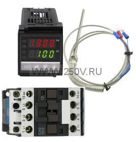 Терморегулятор  REX-C100 c PT100 и контактор