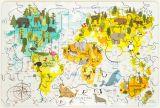 """Деревянный пазл """"Карта мира"""" мини"""