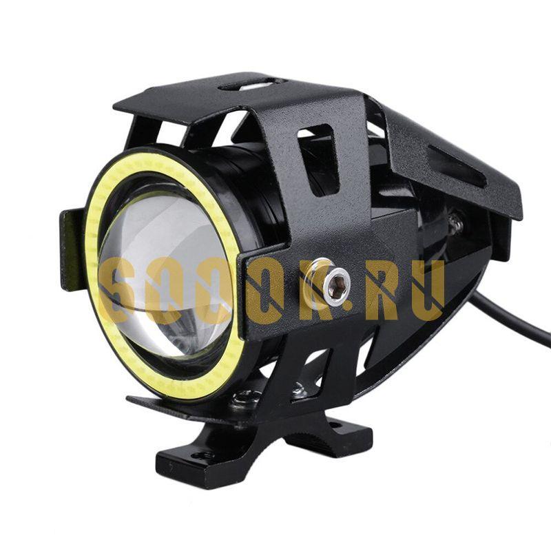 Фара диодная 70 мм black на мотоцикл с кольцом