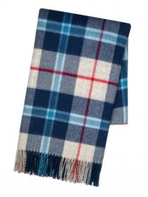 Теплая шаль  100 % стопроцентная шотландская овечья шерсть, (тартан) клана Дуглас ( Синий Вариант) DOUGLAS NAVY TARTAN , плотность 6