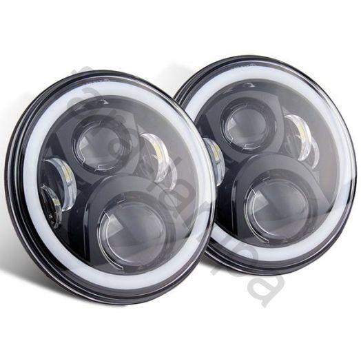 Светодиодные LED фары Нива, УАЗ (черные)