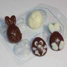 Форма для мыла и шоколада Кролик и цыпленок мультяшные (4 мини)