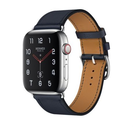 Apple Watch Hermes Stainless Steel Series 4 44mm GPS + Cellular Bleu Indigo Swift Leather Single Tour