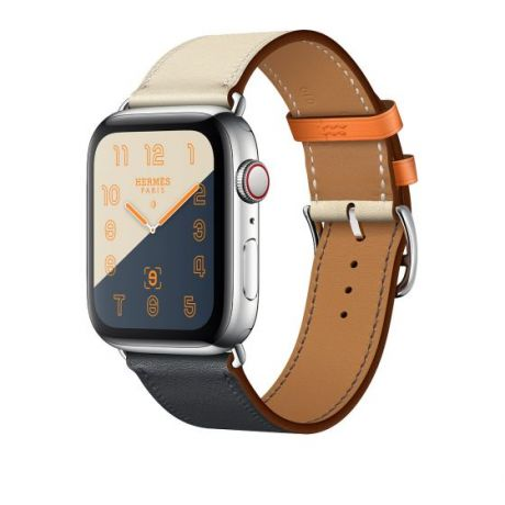 Apple Watch Hermes Stainless Steel Series 4 44mm GPS + Cellular Indigo/Craie/Orange Swift Leather Single Tour