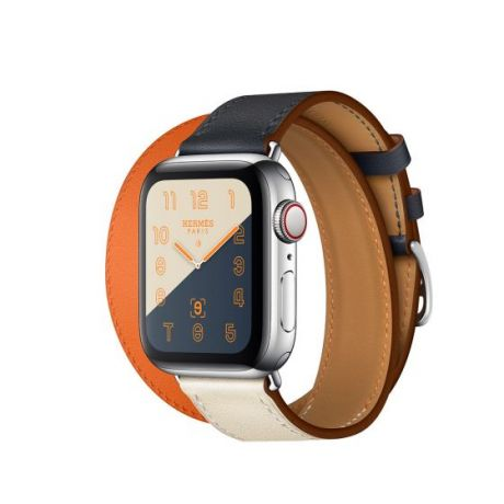 Apple Watch Hermes Series 4 Stainless Steel 40mm GPS + Cellular Indigo/Craie/Orange Swift Leather Double Tour