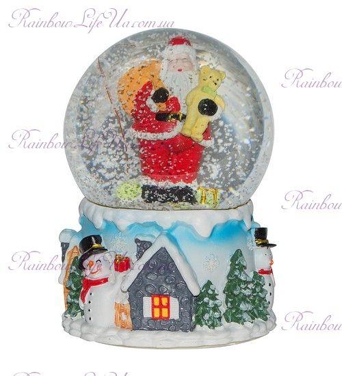 "Шар со снегом ""Дед Мороз с мишкой"""